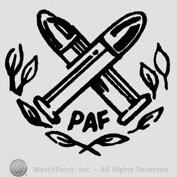 Two crossed bullets over two branches with leaves, PAF written with uppercase letters