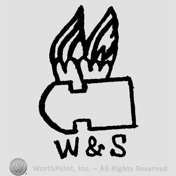 Bullet with wings, W & S written below with uppercase letters