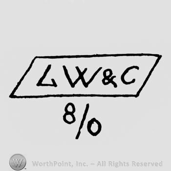 the initials LW&C in a rectangle above the expression 8/0
