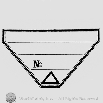 a triangular label with horizontal lines