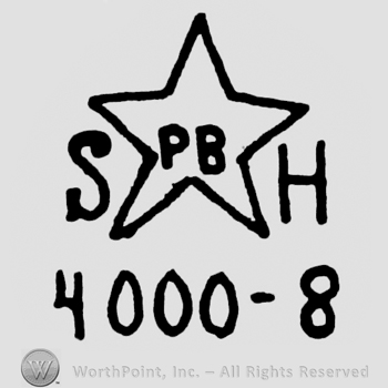 a star with the initials PB insisde and the initials SH outside; 4000 - 8 written bellow.