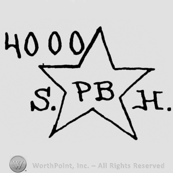 a star with the initials PB insisde and the initials SH outside; 4000 written above.