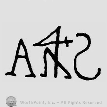 Initials A and S; something like a 4 between them.