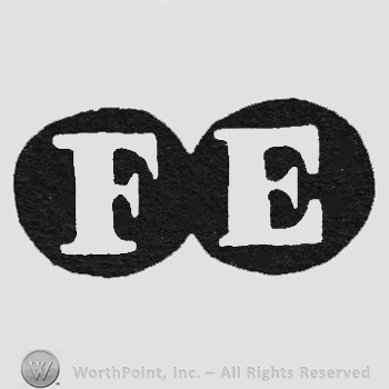 White initials FE inside two black circles