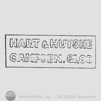 Label Hart & Huyshe up Campden Glos in capital hollow letters